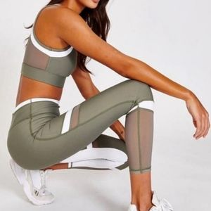 Allfenix green and white 7/8 leggings high rise  L